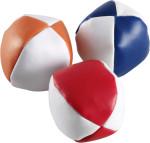 Set van 3 gekleurde jongleerballen in witte pouch.