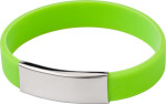 Silicone wristband with metal plate.