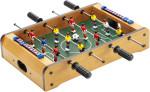 Tafelvoetbal spel met standregistratie en ballen.