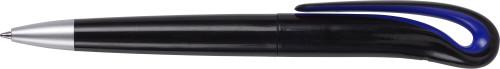 Balpen zwart met gekleurd accent kobaltblauw | bedrukken
