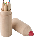 Wooden tube with pencils