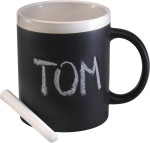Stoneware mug with chalks