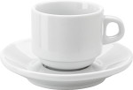 Stackable porcelain cup and saucer (100ml)