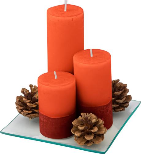 Set van 3 kaarsen op een glazen plaat 5721-008999999 Bedrukt