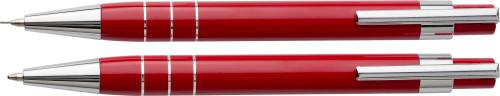 Schrijfset in pu etui (balpen/vulpotlood) rood