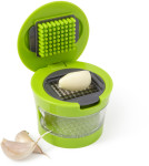 Plastic with stainless steel garlic cutter