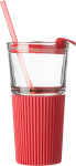Glass drinking mug with matching straw (500ml)