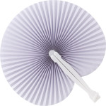 Paper hand held fan with plastic handle