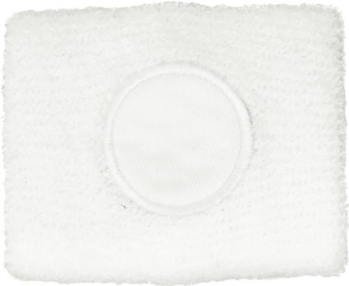 Katoenen zweetbandje een wit rond vlak. wit | aanbieding
