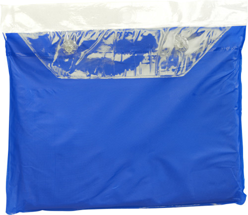 Vinyl poncho met druksluiting aan de zijkanten. blauw